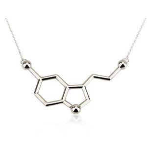 Jewelry - Serotonin Molecule Chemistry Necklace Silver